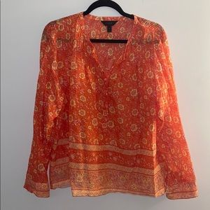 JCrew Orange Button-Up Long-Sleeve